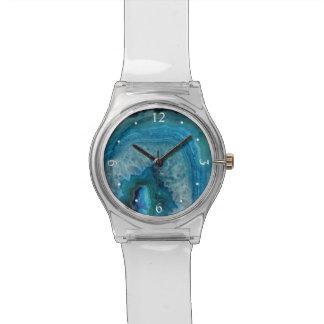 Blauer Geode Felsen-Mineralachat-Kristall-Bild Uhr