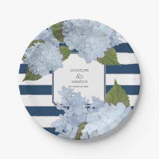 Blauer gestreifter Hydrangea-BlumenKranz Pappteller