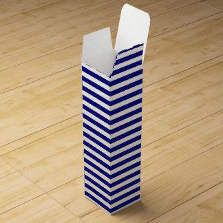 Blauer gestreifter Wein-Kasten Wein-Geschenkverpackung