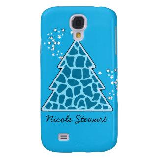 Blauer Giraffe Weihnachtsbaum Galaxy S4 Hülle
