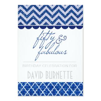Blauer Glitter fünfzig und fabelhafter Geburtstag 12,7 X 17,8 Cm Einladungskarte