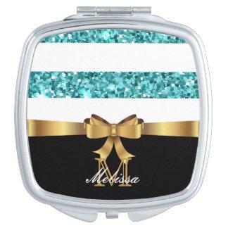 Blauer GLITTER-GOLDENES Taschenspiegel
