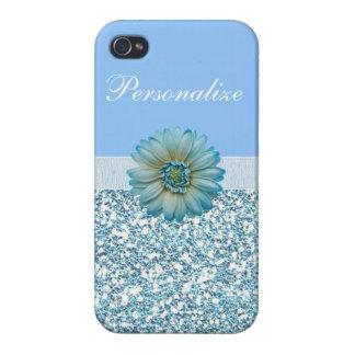 Blauer Glitzer, Band u. Blume personalisiert iPhone 4 Hülle