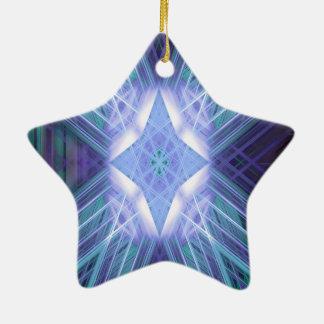 Blauer glühender Stern Keramik Ornament