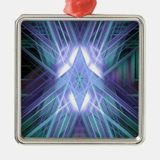 Blauer glühender Stern Silbernes Ornament