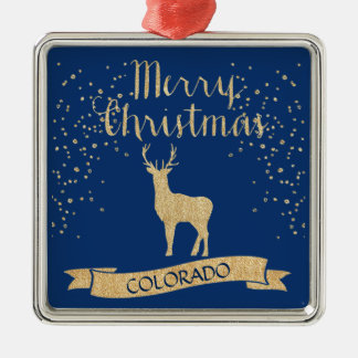 Blauer Goldcolorado-Elch-Imitat-Glitter Quadratisches Silberfarbenes Ornament
