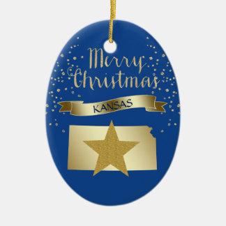 Blauer Goldkansas-Stern Keramik Ornament