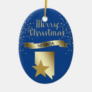 Blauer Goldnevada-Stern Ovales Keramik Ornament