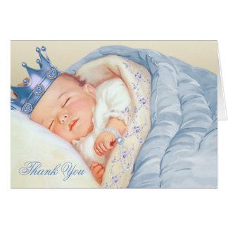 Blauer Goldprinz Babyparty danken Ihnen Karte