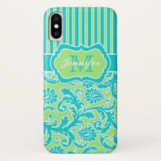 Blauer, grüner, weißer gestreifter Damast iPhone X iPhone X Hülle