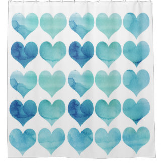 Blauer Herz-Duschvorhang Duschvorhang