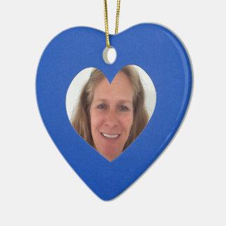Blauer Herz-Foto-Rahmen Keramik Ornament