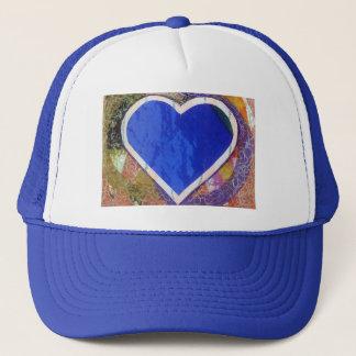 Blauer Herz-Hut Truckerkappe
