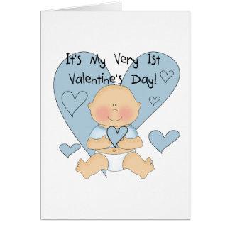 Blauer Herz-Jungen-1. Valentinsgruß-T-Shirts und Karte