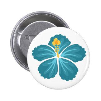 Blauer Hibiskus Runder Button 5,1 Cm