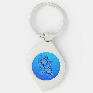 Blauer Hibiskus und Honu Schildkröten Silberfarbener Wirbel Schlüsselanhänger