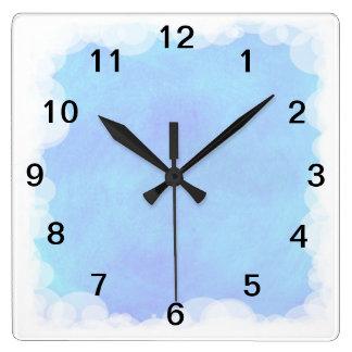 Blauer Himmel-Blasen-und Wolken-Wanduhr Uhr