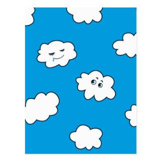 Blauer Himmel-glückliche lustige Wolken Postkarte