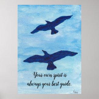 Blauer Himmel mit dem Vogel-Fliegen Poster