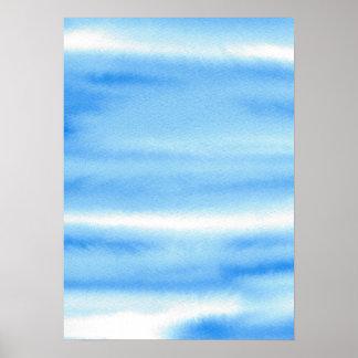 Blauer Himmelwatercolor-abstraktes Plakat