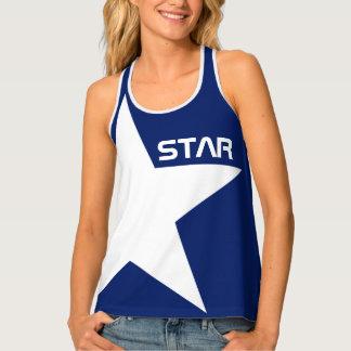 Blauer Hintergrund des weißen Sternes Tanktop