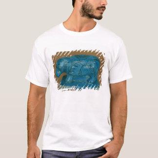 Blauer Hippopotamus mit schwarzer Dekoration T-Shirt