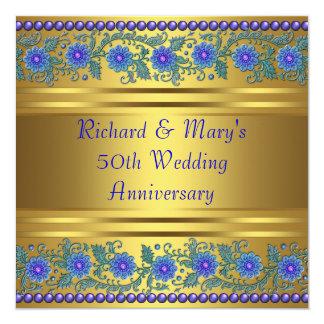Blauer Hochzeits-Jahrestag des Blumen-Gold50. Quadratische 13,3 Cm Einladungskarte