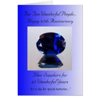 Blauer Hochzeitstag des Saphir-65. Karte