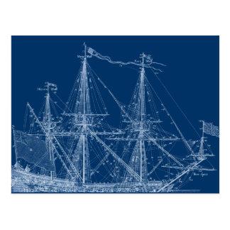 Blauer hoher Segelschiff-Plan Postkarte