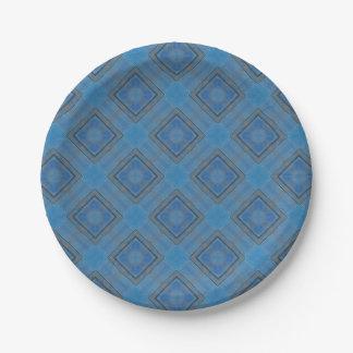 blauer hölzerner Hintergrund Pappteller