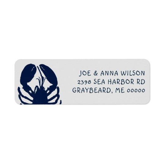 Blauer Hummer-Grau-Rücksendeadressen-Aufkleber Rückversand-Adressaufkleber