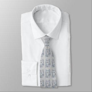 Blauer Hund auf grauer Krawatte