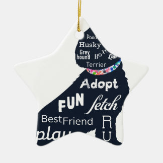 Blauer Hund Keramik Ornament