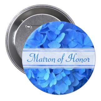 Blauer Hydrangea-Brautparty-Knopf Runder Button 7,6 Cm