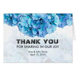 Blauer Hydrangea, den Hochzeit Ihnen danken, merkt Mitteilungskarte