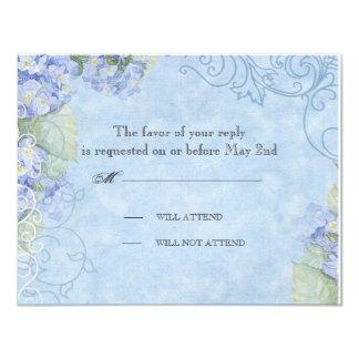 Blauer Hydrangea - Hochzeits-Wartekarte Personalisierte Einladung