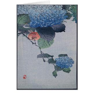 Blauer Hydrangea-japanischer Holzschnitt mit Vers Karte