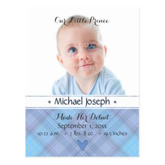 Blauer Jungen-karierte Geburts-Mitteilung Postkarte