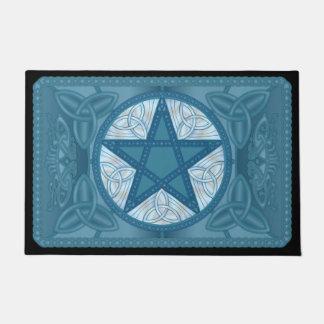 Blauer keltischer Pentagram, Tri-Quatras u. Vögel Türmatte