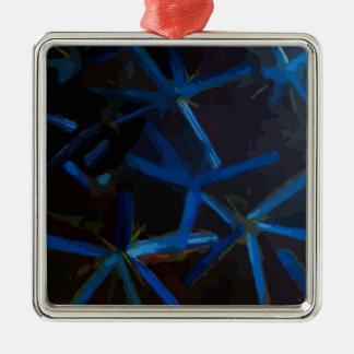 Blauer Kristall spielt Weihnachtsbaum-Dekoration Quadratisches Silberfarbenes Ornament