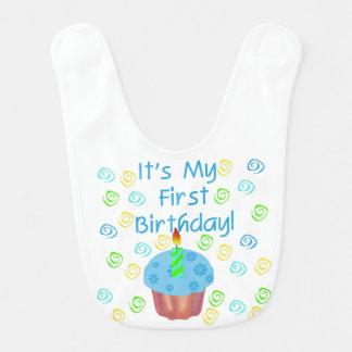 Blauer Kuchen-1. Geburtstags-Schellfisch Babylätzchen