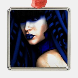 """""""Blauer"""" Kunst-Druck Silbernes Ornament"""