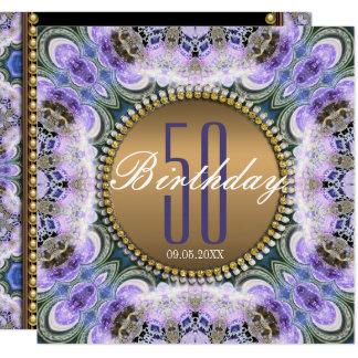 Blauer lila Böhme-50. Geburtstags-Einladung Quadratische 13,3 Cm Einladungskarte
