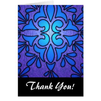 Blauer lila Stainded Glasart-Entwurf Karte