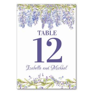 Blauer lila Watercolor-Wedding BlumenTischnummer Karte