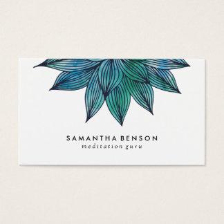 Blauer Lotos-Blume| BlumenWatercolor Visitenkarte