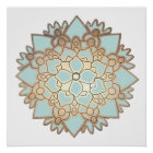 Blauer Lotos-Blumemandala-Plakat Poster