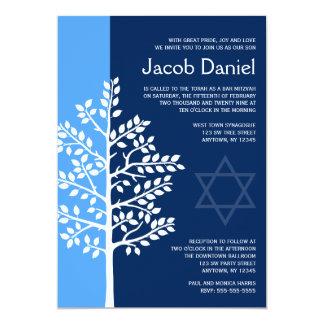 Blauer Marine-Baum von Leben-Bar Mitzvah 12,7 X 17,8 Cm Einladungskarte