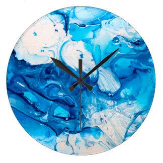 Blauer Marmorentwurf Große Wanduhr