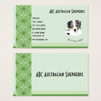 Blauer Merle Australier auf Grün auf lt Green Visitenkarte